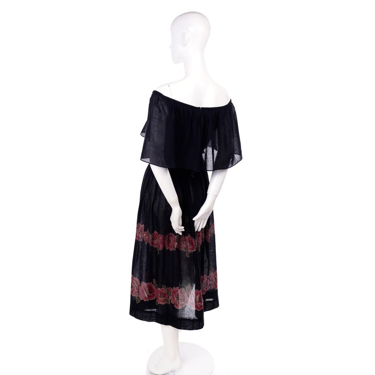 Vintage Albert Nipon Black Off Shoulder Cotton Voile Dress With Red Rose Print For Sale 2