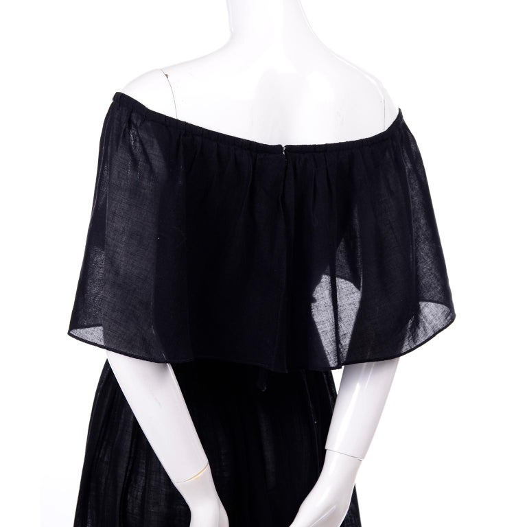 Vintage Albert Nipon Black Off Shoulder Cotton Voile Dress With Red Rose Print For Sale 3