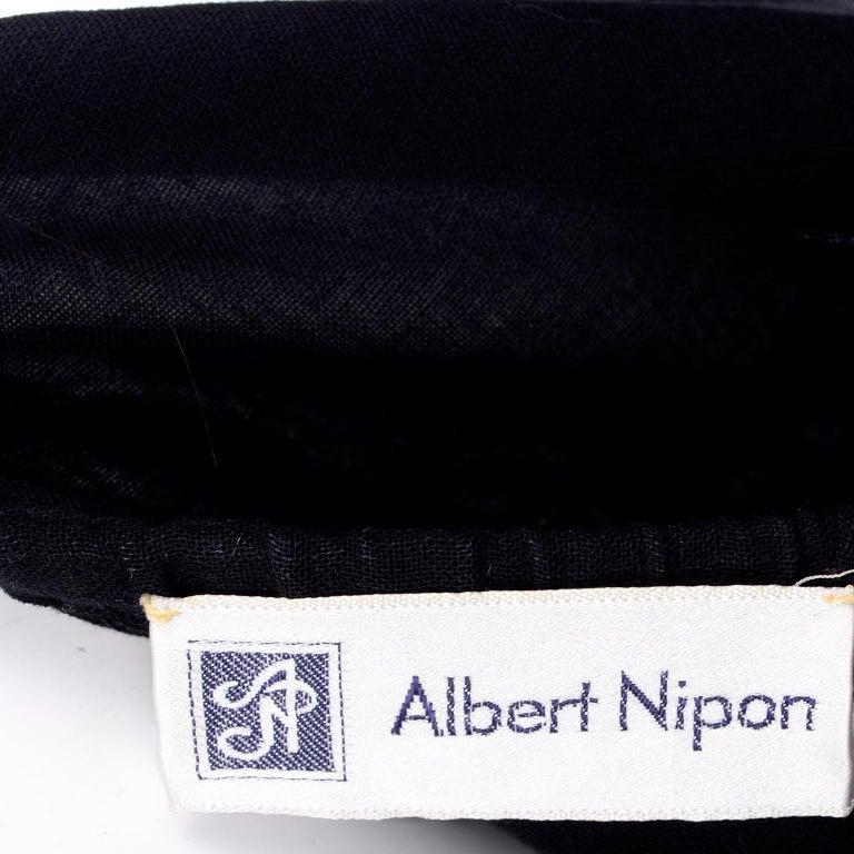 Vintage Albert Nipon Black Off Shoulder Cotton Voile Dress With Red Rose Print For Sale 4