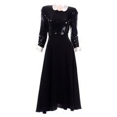 Vintage Albert Nipon Black Sequin Evening Dress W Removable Ivory Cuffs & Collar