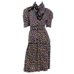 Vintage Albert Nipon Colorful Confetti Print Silk 2pc Dress With Scarf & Belt