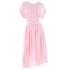 Vintage Albert Nipon Pink & White Striped Silk Dress