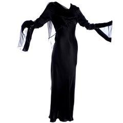 Vintage Alberta Ferretti Black Silk Evening Gown in Chiffon Velvet & Satin Sz 6