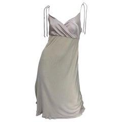Vintage Alberta Ferretti Size 10 / 12 Beige Khaki Silk + Rayon 1990s Dress 90s