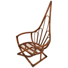 Vintage Albini Style Handwoven Bamboo & Wicker Peacock High Back Chair, Italy