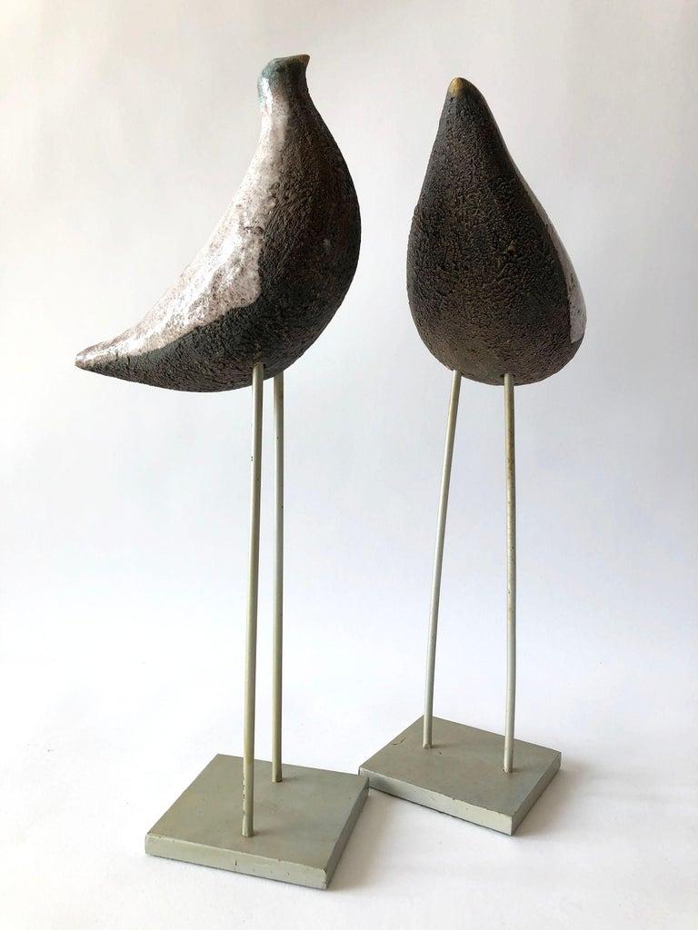 Mid-20th Century Vintage Aldo Londi Bitossi Italian Modernist Ceramic Pair of Birds Sculptures For Sale