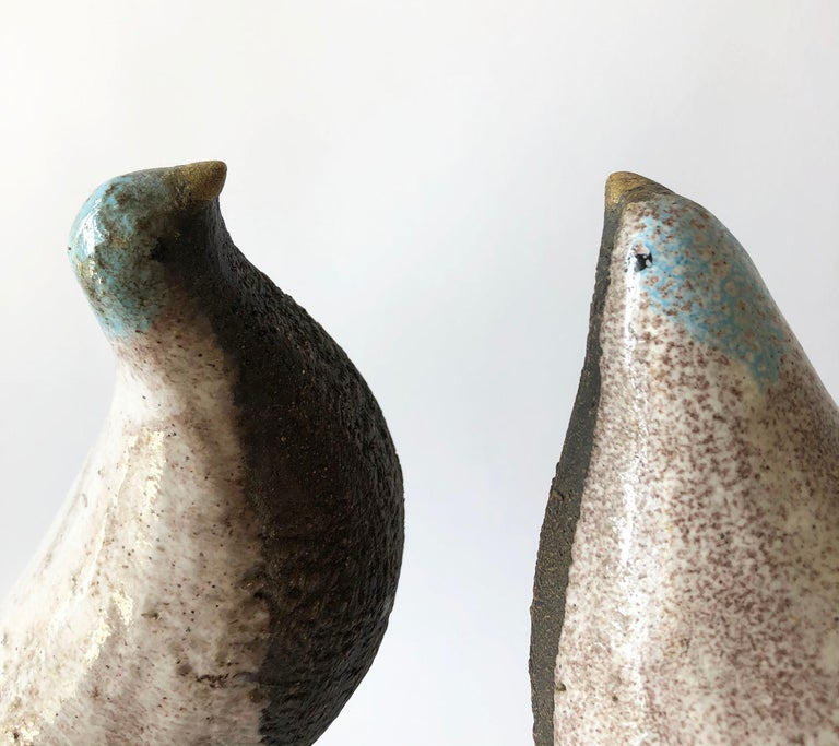 Vintage Aldo Londi Bitossi Italian Modernist Ceramic Pair of Birds Sculptures For Sale 2