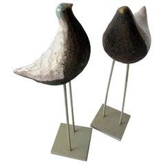 Vintage Aldo Londi Bitossi Italian Modernist Ceramic Pair of Birds Sculptures