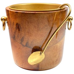 Vintage Aldo Tura Camel Brown Goatskin and Brass Table Ice Bucket, 1940s, Italy