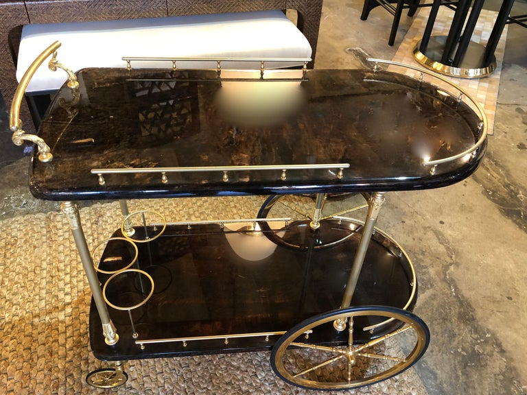 Mid-20th Century Vintage Aldo Tura Lacquered Goatskin Bar Cart with Gilt Brass Accents