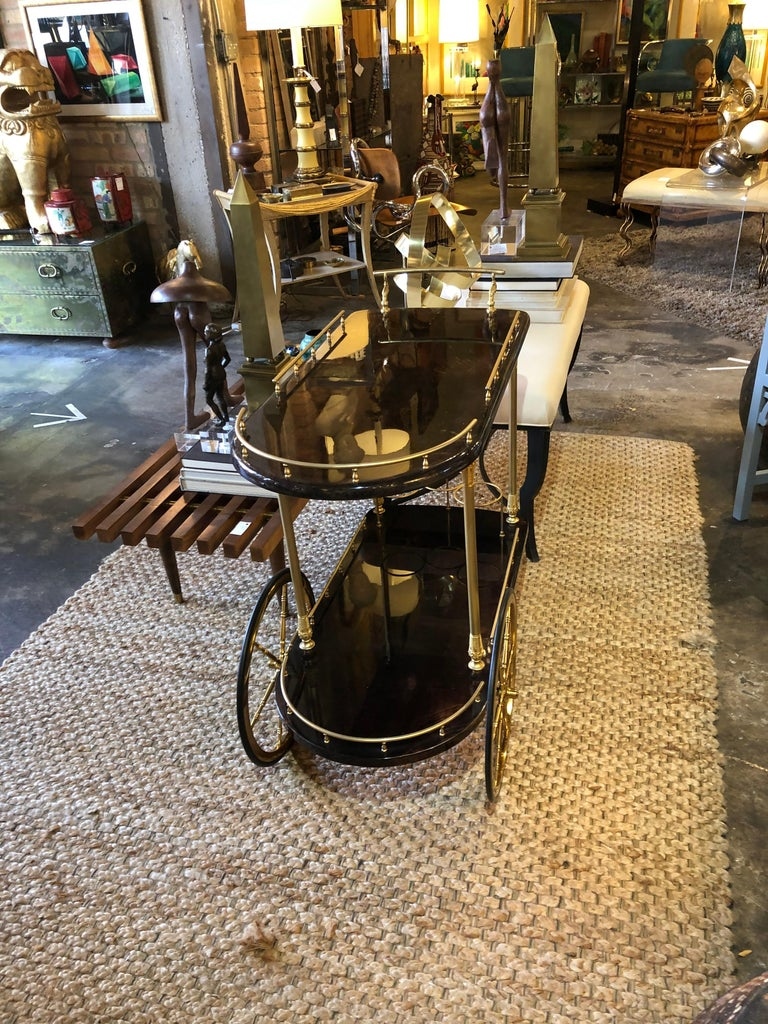 Vintage Aldo Tura Lacquered Goatskin Bar Cart with Gilt Brass Accents 3