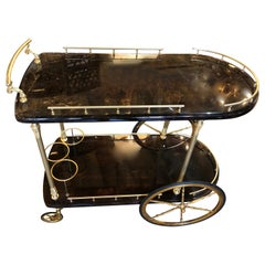 Vintage Aldo Tura Lacquered Goatskin Bar Cart with Gilt Brass Accents