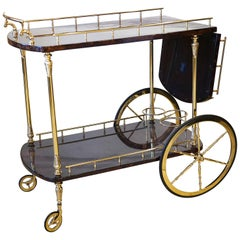 Vintage Aldo Tura Lacquered Goatskin Parchment and Brass Dropleaf Bar Cart