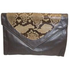 Vintage Aldrovandi Hand Made Leather and Snakeskin Bag - Clutch or Shoulder