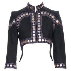 vintage ALEXANDER MCQUEEN 2004 black ethnic embellishment cropped jacket IT38