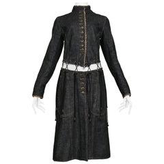 "Vintage Alexander Mcqueen Black Denim ""Irere"" Coat with Laces 2003"