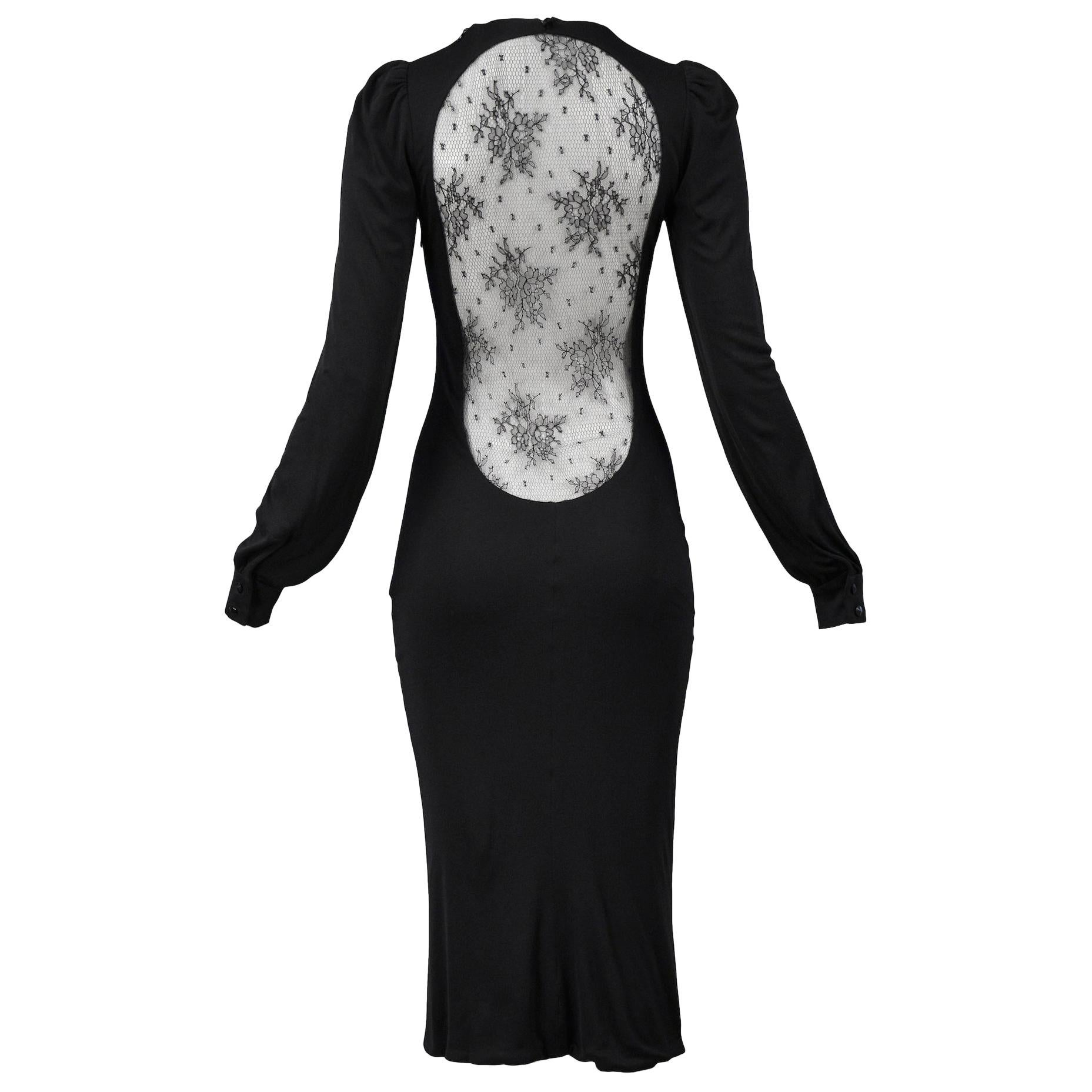 "Vintage Alexander McQueen Black Lace ""Hitchcock"" Dress 2005"