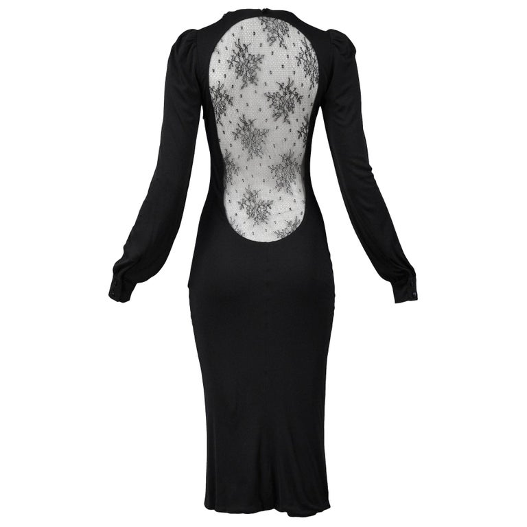 "Vintage Alexander McQueen Black Lace ""Hitchcock"" Dress 2005 For Sale"