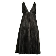 Vintage Alexander McQueen Black Leather Fortuny Crinkle Dress