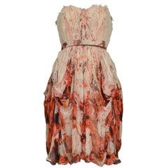 Vintage Alexander McQueen Chiffon Floral Dress 2009