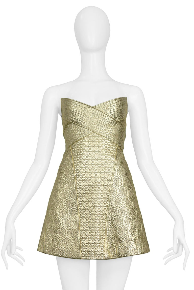 Vintage Alexander McQueen Gold Leather Armor Runway 2007 Dress  In Excellent Condition For Sale In Los Angeles, CA