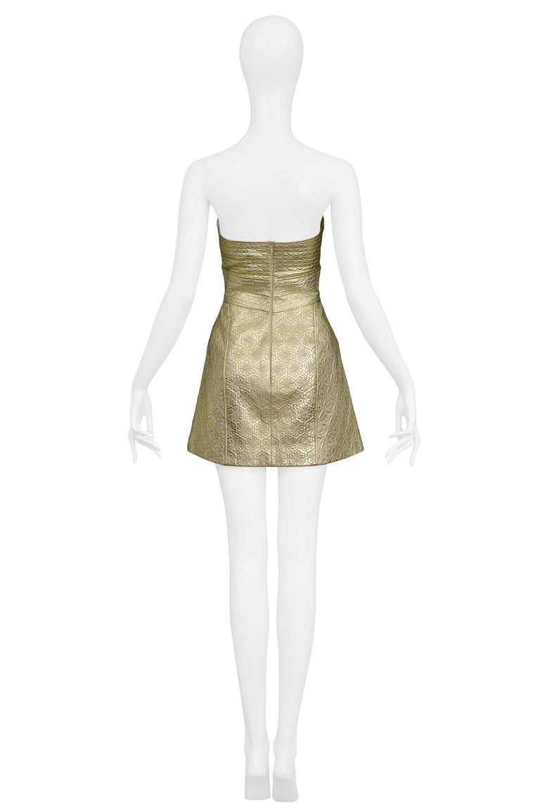 Vintage Alexander McQueen Gold Leather Armor Runway 2007 Dress  For Sale 1