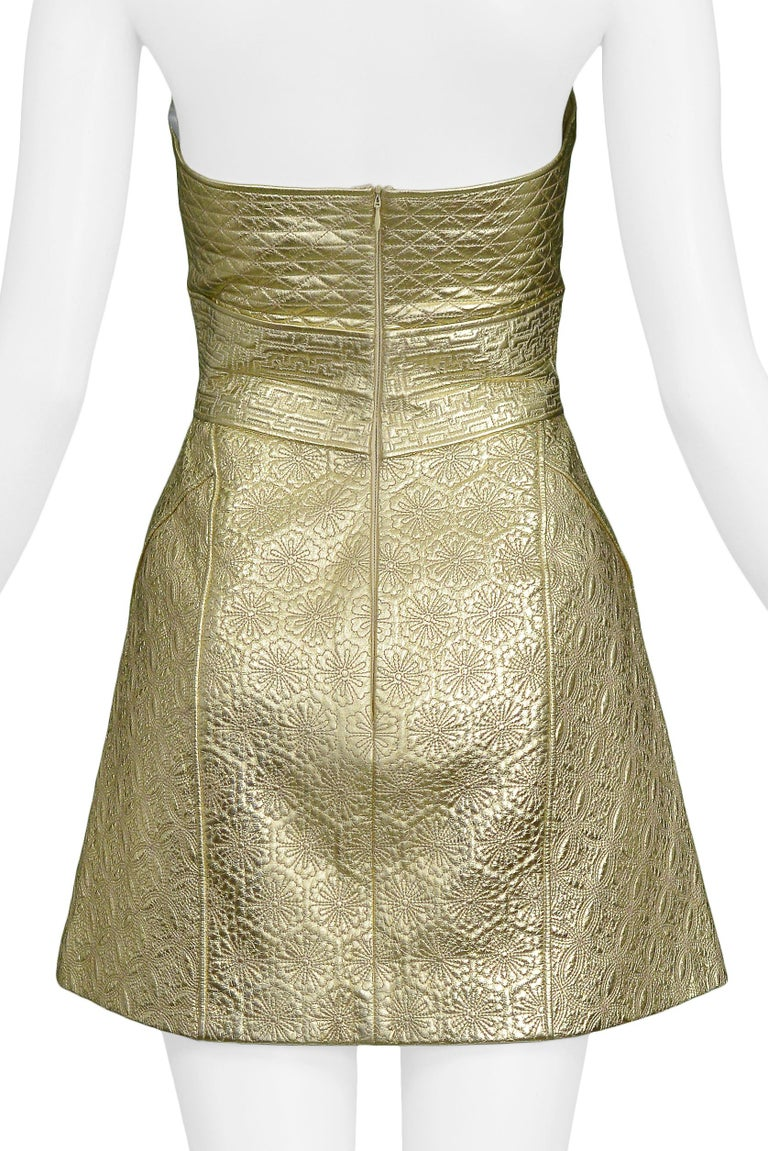 Vintage Alexander McQueen Gold Leather Armor Runway 2007 Dress  For Sale 2