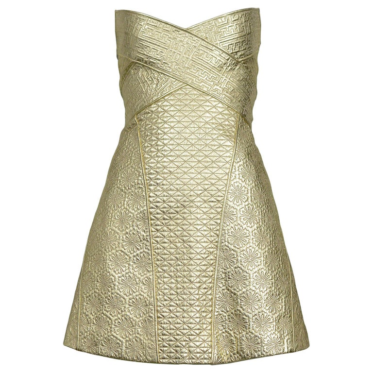 Vintage Alexander McQueen Gold Leather Armor Runway 2007 Dress  For Sale