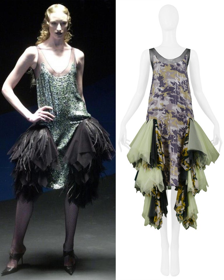 Vintage Alexander McQueen Green Camo Sequin Embellished Gown AW 2001 In Excellent Condition For Sale In Los Angeles, CA