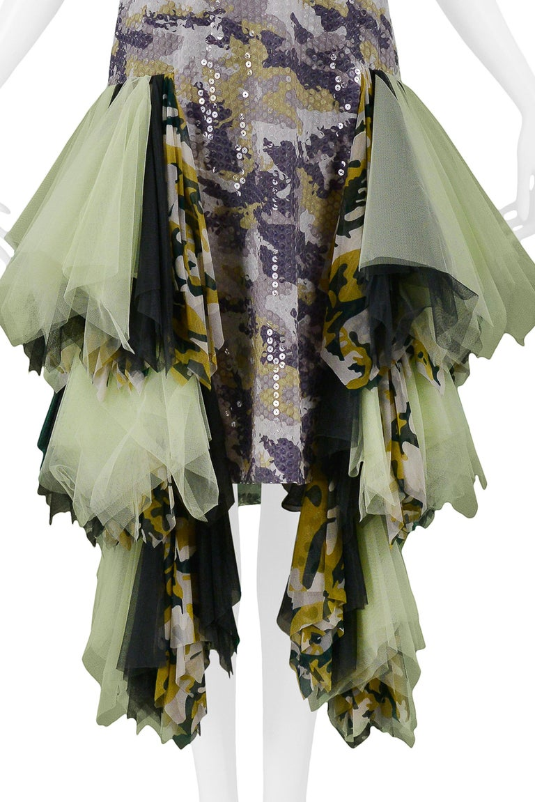 Vintage Alexander McQueen Green Camo Sequin Embellished Gown AW 2001 For Sale 2