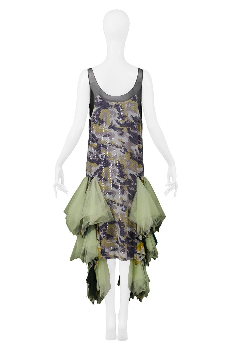 Vintage Alexander McQueen Green Camo Sequin Embellished Gown AW 2001 For Sale 3