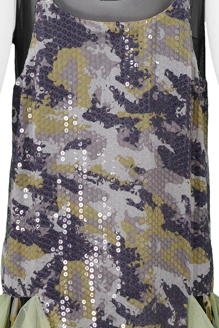 Vintage Alexander McQueen Green Camo Sequin Embellished Gown AW 2001 For Sale 4