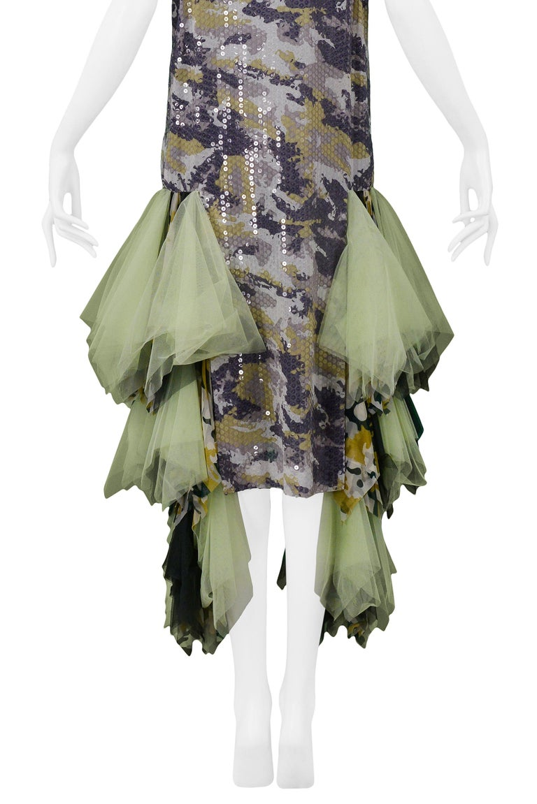 Vintage Alexander McQueen Green Camo Sequin Embellished Gown AW 2001 For Sale 5