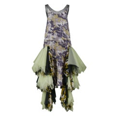 Vintage Alexander McQueen Green Camo Sequin Embellished Gown AW 2001