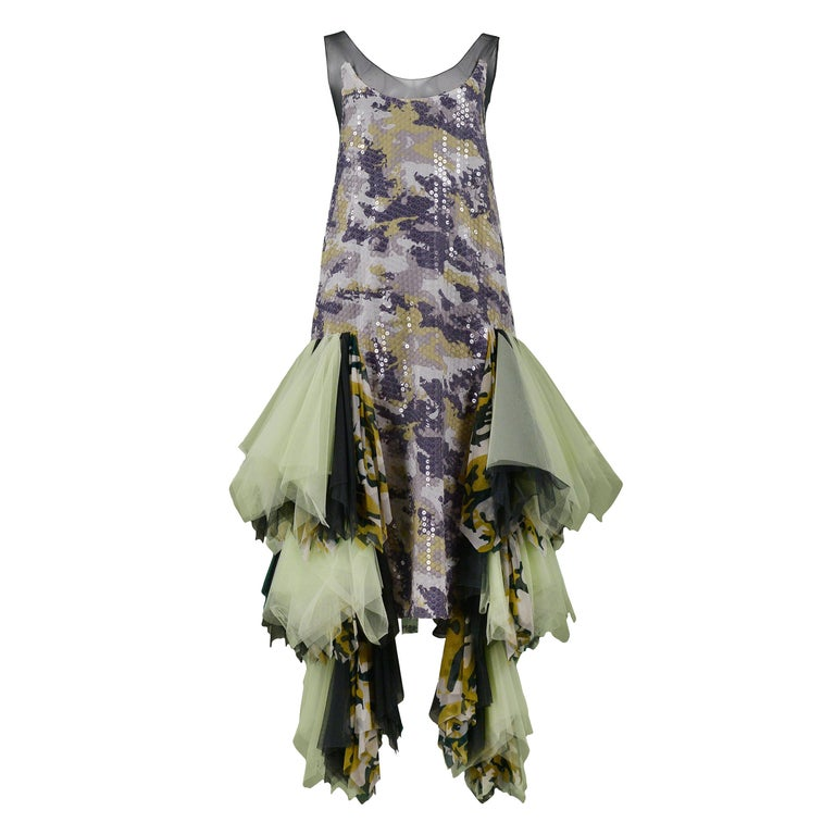 Vintage Alexander McQueen Green Camo Sequin Embellished Gown AW 2001 For Sale