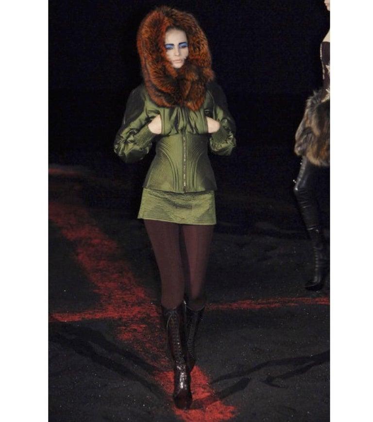 Black Vintage Alexander McQueen Military Fox Fur Hood Bomber 2007 For Sale