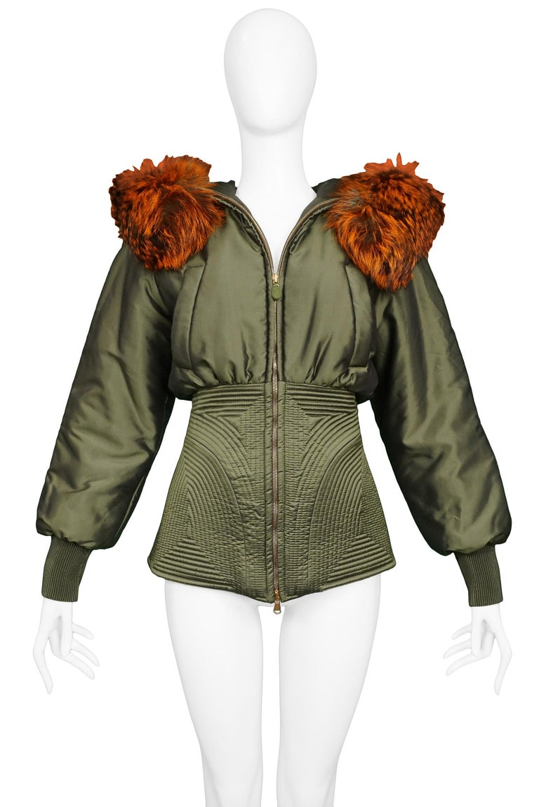 Women's or Men's Vintage Alexander McQueen Military Fox Fur Hood Bomber 2007 For Sale