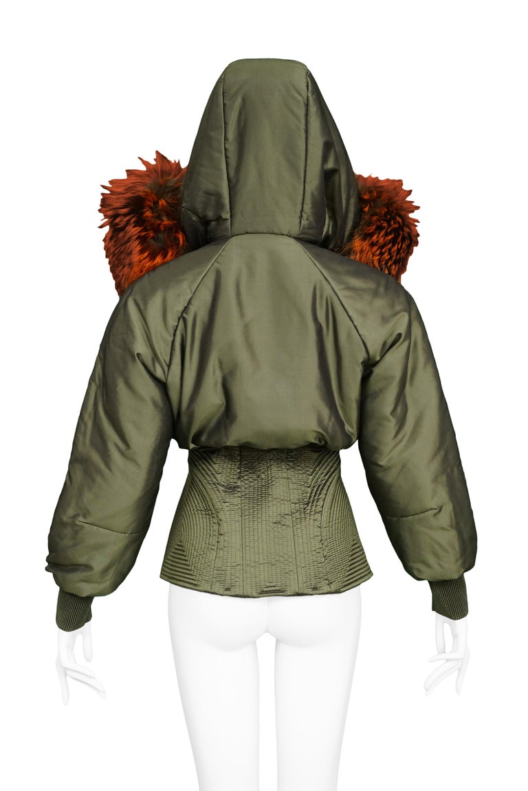 Vintage Alexander McQueen Military Fox Fur Hood Bomber 2007 For Sale 1