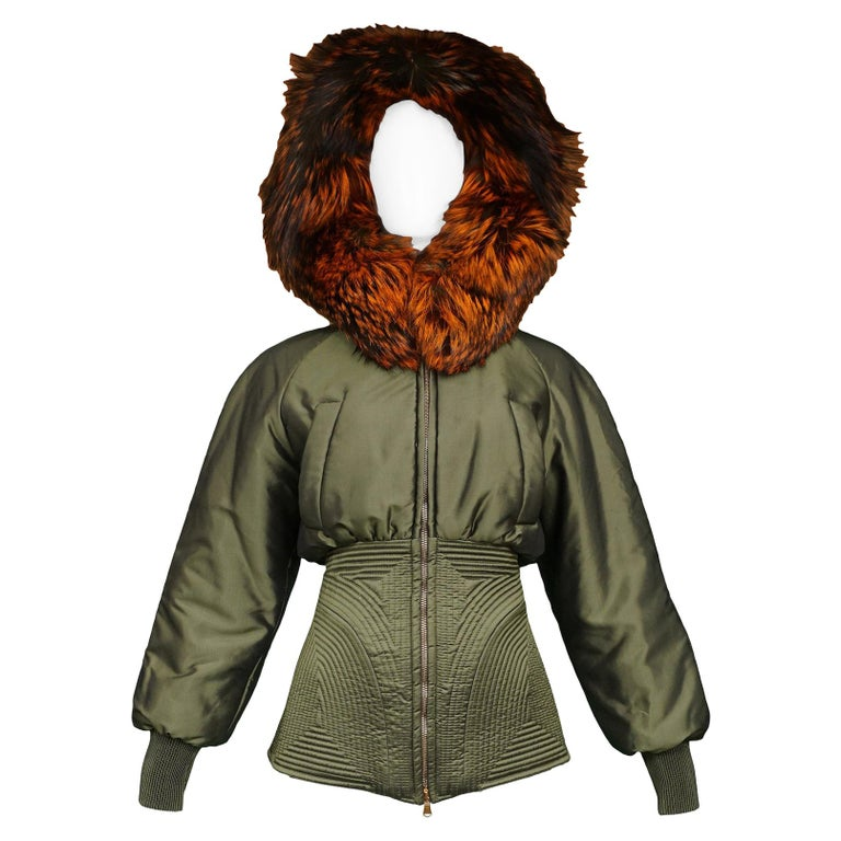 Vintage Alexander McQueen Military Fox Fur Hood Bomber 2007 For Sale
