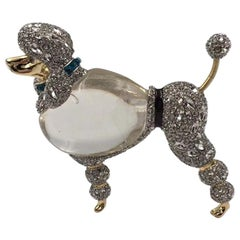 Vintage Alexis Bittar Lucite Diamanté Poodle Pin Pendant Necklace Estate Jewelry