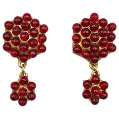 Vintage Alexis Lahellec Paris Gold & Red Glass Statement Earrings 1980s