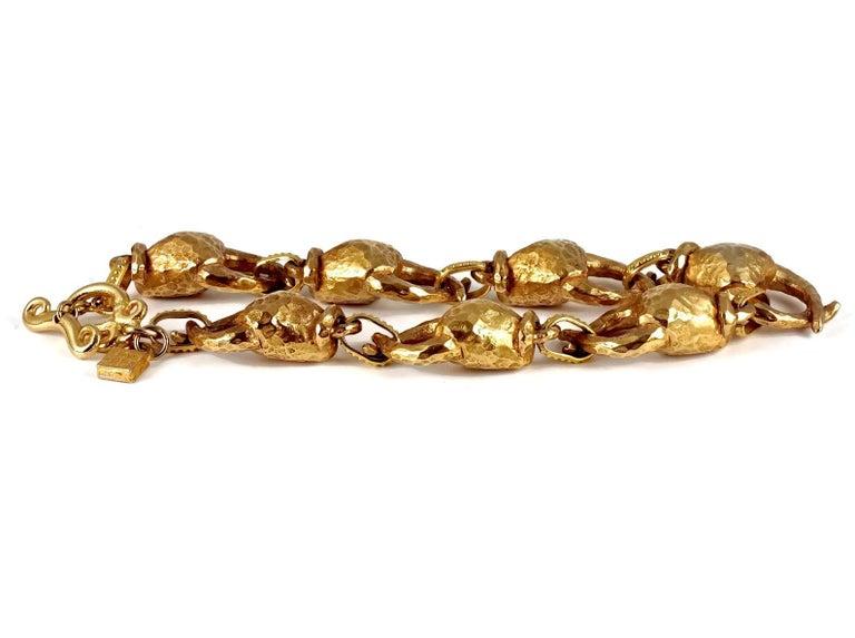 Women's Vintage ALEXIS LAHELLEC PARIS Hammered Claw Choker Necklace For Sale