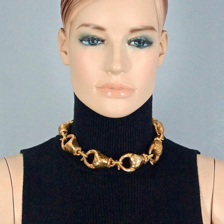 Vintage ALEXIS LAHELLEC PARIS Hammered Claw Choker Necklace For Sale 2