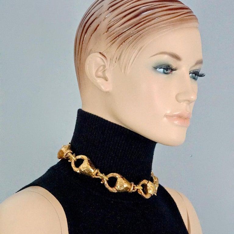 Vintage ALEXIS LAHELLEC PARIS Hammered Claw Choker Necklace For Sale 3