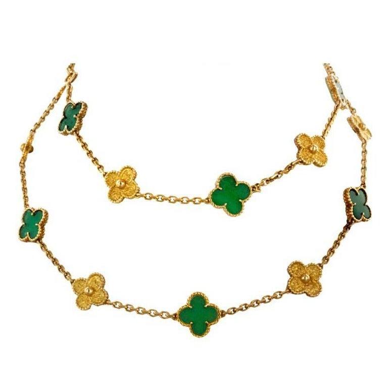 Vintage Alhambra Jade Collection Necklace 20 Motifs 18K Gold