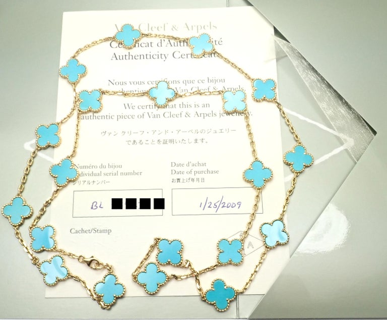 18k Yellow Gold Alhambra 20 Motifs Turquoise Necklace by Van Cleef & Arpels.  This necklace comes with a Van Cleef & Arpels certificate from VCA store and a box. With 20 motifs of turquoise alhambra stones 15mm each Details:  Length: 32