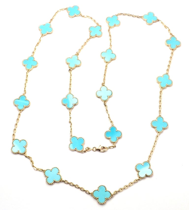 Uncut Vintage Alhambra Turquoise 20 Motif Yellow Gold Necklace For Sale