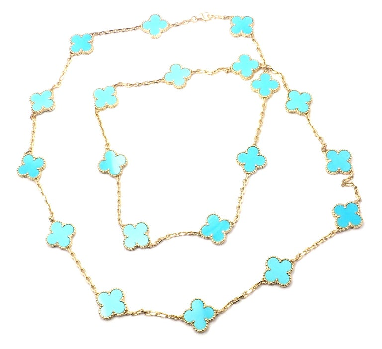 Women's or Men's Vintage Alhambra Turquoise 20 Motif Yellow Gold Necklace For Sale
