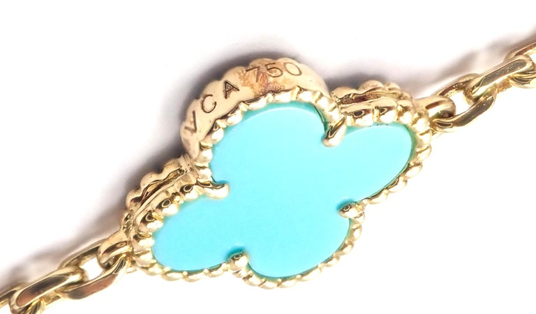 Vintage Alhambra Turquoise 20 Motif Yellow Gold Necklace For Sale 1