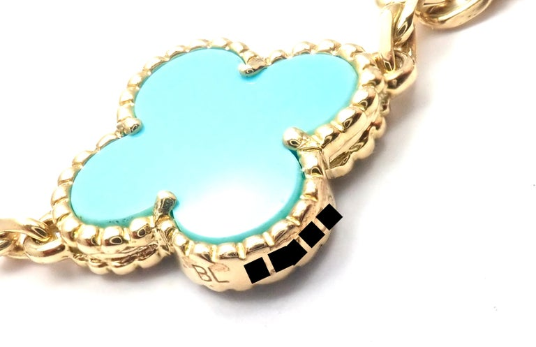 Vintage Alhambra Turquoise 20 Motif Yellow Gold Necklace For Sale 2